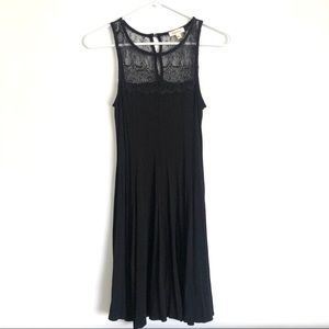 Black Dress with Front and Back Lace Top Small